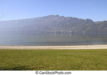 Large view of Bourget lake in Savoy, France - Panorma of...