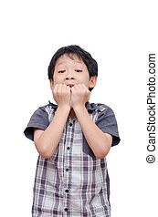 Surprised boy over white - Surprised boy isolated over white...