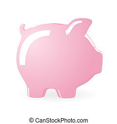 Piggy bank - Vector illustration of a Piggy bank isolated on...