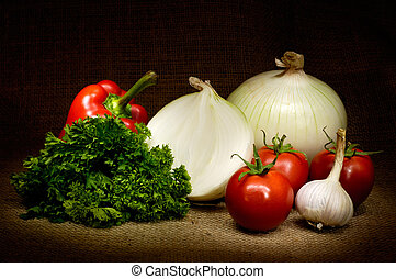 Vegetable Still Life - Vegetable country-style still life...