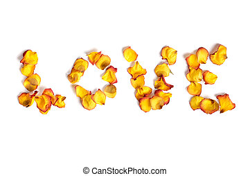 Word Love Made from Rose Petals