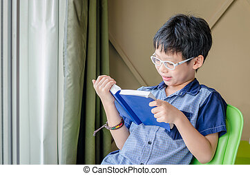 Young boy reading book - Young Asian boy reading book in...