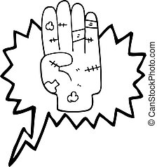speech bubble cartoon injured hand - freehand drawn speech...