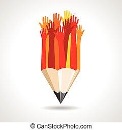 happy hands with pencil vector
