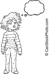 thought bubble cartoon chilled out girl - freehand drawn...