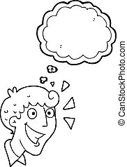 thought bubble cartoon excited man - freehand drawn thought...