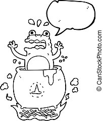 speech bubble cartoon funny halloween toad - freehand drawn...