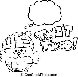 thought bubble cartoon cute owl singing twit twoo