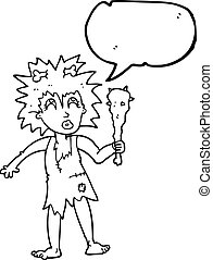 speech bubble cartoon cave woman - freehand drawn speech...