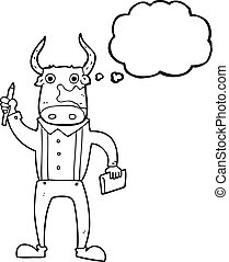 thought bubble cartoon bull man - freehand drawn thought...