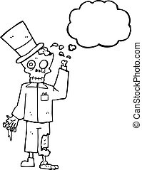 thought bubble cartoon posh zombie - freehand drawn thought...