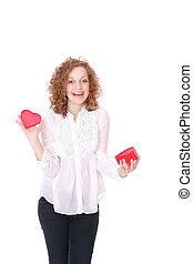 woman with a heart gift in her hands