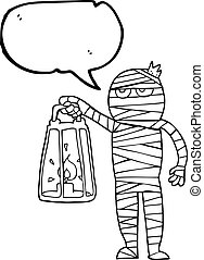speech bubble cartoon mummy - freehand drawn speech bubble...