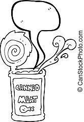 speech bubble cartoon canned meat - freehand drawn speech...
