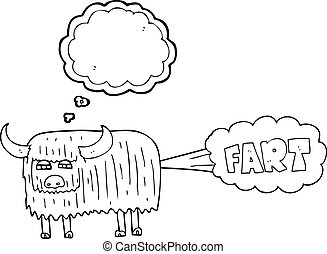 thought bubble cartoon hairy cow farting - freehand drawn...