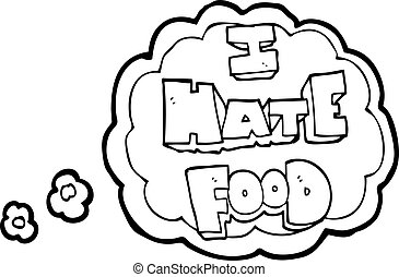 thought bubble cartoon i hate food symbol - freehand drawn...