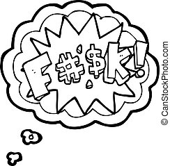 thought bubble cartoon swearword - freehand drawn thought...