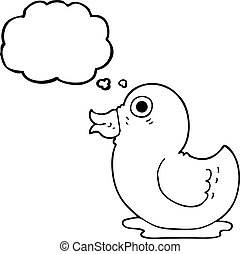 thought bubble cartoon rubber duck - freehand drawn thought...