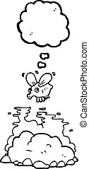 thought bubble cartoon fly and manure - freehand drawn...