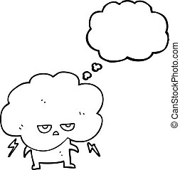 thought bubble cartoon raincloud - freehand drawn thought...