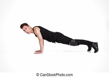 man making push ups
