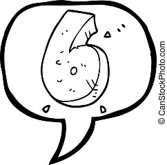 speech bubble cartoon stone number six - freehand drawn...