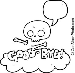 speech bubble cartoon good-bye symbol - freehand drawn...