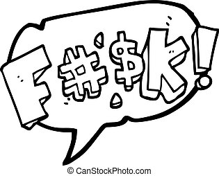 speech bubble cartoon swearword - freehand drawn speech...