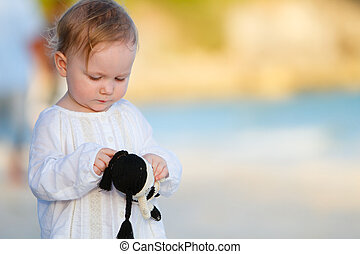 Little girl on vacation - Portrait of adorable toddler girl...
