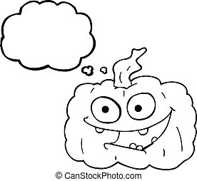 thought bubble cartoon pumpkin - freehand drawn thought...
