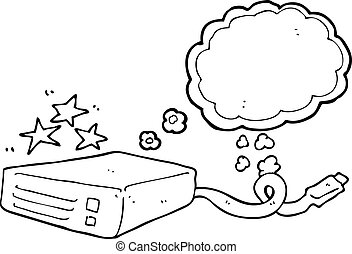 thought bubble cartoon computer hard drive - freehand drawn...