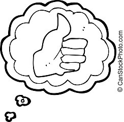 thought bubble cartoon thumbs up symbol - freehand drawn...