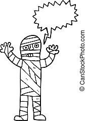 speech bubble cartoon bandaged mummy - freehand drawn speech...