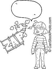 speech bubble cartoon casual alien girl using telepathy -...