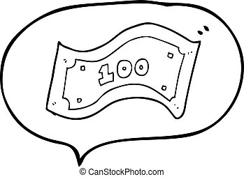 speech bubble cartoon 100 dollar bill - freehand drawn...