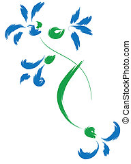 Still-life with blue flowers Simulated of watercolor Vector...