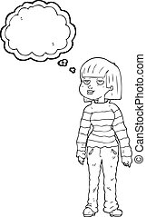 thought bubble cartoon woman in casual clothes - freehand...