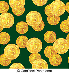 Abstract seamless pattern with dollar coins. Background for...