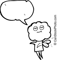 speech bubble cartoon cute cloud head imp - freehand drawn...