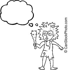 thought bubble cartoon cave woman - freehand drawn thought...