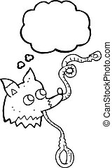 thought bubble cartoon dog with leash - freehand drawn...