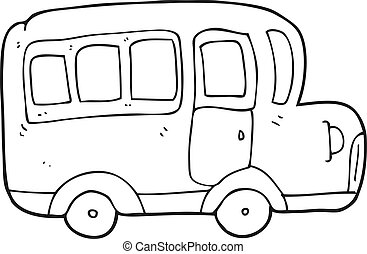 black and white cartoon yellow school bus - freehand drawn...