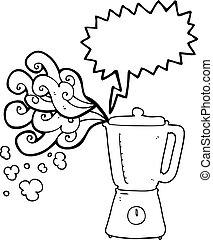 speech bubble cartoon blender going crazy - freehand drawn...