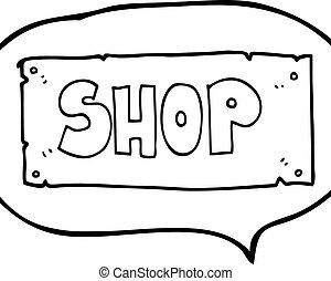 speech bubble cartoon shop sign - freehand drawn speech...