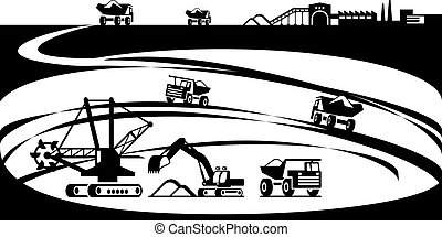 Extraction of ore from open pit - vector illustration