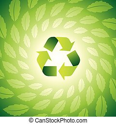 Environmental icon with Eco leaves