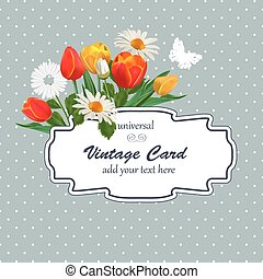 Spring Vintage Illustration with Flowers. Universal  Card Templa