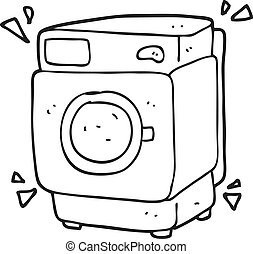 black and white cartoon rumbling washing machine - freehand...