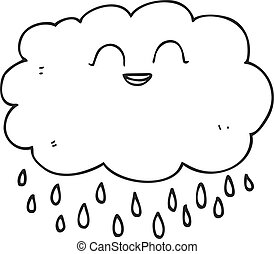 black and white cartoon raincloud - freehand drawn black and...