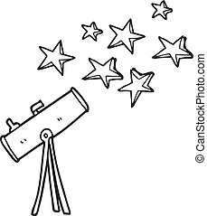 black and white cartoon telescope and stars